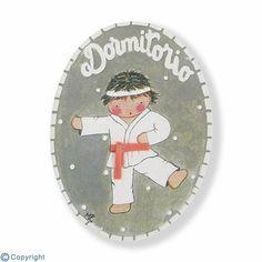 Mini placa de puerta artesanal: Niño karateka (ref. 12141-01)