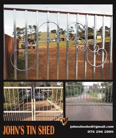 Added some curly's to 3 plain gates to fit in with the archway gate Tin Shed, How To Remove Rust, Plasma Cutting, Gates, Restoration, Steel, Fit, Home, Shape