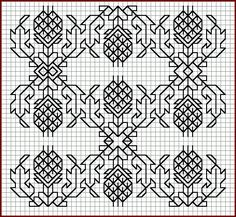Free blackwork - pineapple filling pattern. pineapple was colonial englands hospitality symbol.