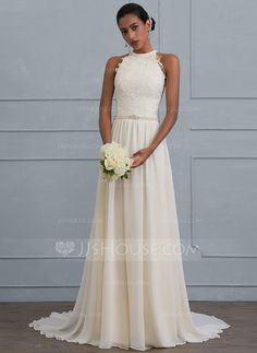 [€ A-Linie/Princess-Linie Träger Sweep/Pinsel zug Chiffon Brautkleid . - [€ A-Linie/Princess-Linie Träger Sweep/Pinsel zug Chiffon Brautkleid mit Perlstickerei - Wedding Dress Chiffon, Gorgeous Wedding Dress, Princess Wedding Dresses, Wedding Party Dresses, Bridal Dresses, Tulle Ball Gown, Ball Gowns, Dress Hairstyles, Beaded Chiffon