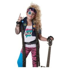 This glam rocker is ready to party the night away! Glam Rocker Kids Costume includes vest with fringe detailing a tattoo sleeve white screen skeleton.  sc 1 st  Pinterest & 34 best 80s rock / glam rock costume images on Pinterest | Rock ...