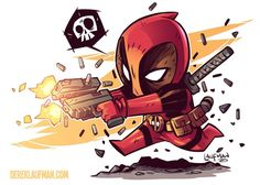 My free post card print for the past year. If you ordered anything from www.dereklaufman.com or saw me at a con you got one. I still have a few left but the new one for this year features Spidey! #deadpool #fanart #chibi #dereklaufman