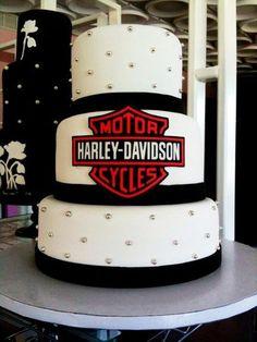 "Okay...so it's not a ""bike"", but it's fun! Harley Davidson Wedding Cake!"