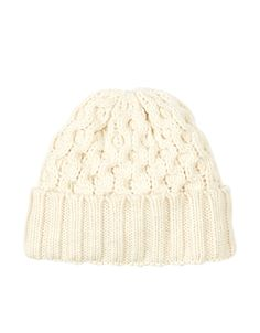 Circles Cable Turnup Beanie Hat | Ivory | Accessorize