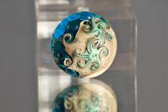 Starfish Cabochon - Sea Inspired Lampwork Glass Cab by Clare Scott SRA Silver Blue.