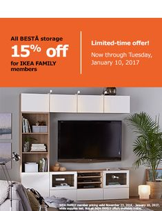 All BESTA storage 15% off for IKEA FAMILY members