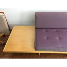 Image of Mid-Century Modern Sofa With Built-In Side Table