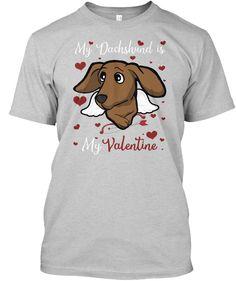 My Dachshund Is My Valentine - Light Steel, Small