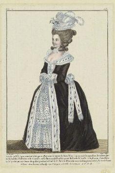 """""""Lévite pelisse à parement et Colet garni d'hermine le jupon de Satin blanc à poix noir le manchon de même garni de bandes d'hermine et la Ceinture aussi d'hermine, le Pouf surmounté de fleurs de batiste et de plumes. Cette Robe a été portée par une Dame de qualité pendant le Deuïl de M. Thérèse d'Autriche mere de l'Empereur et de la Reine de France"""", Gallerie des Modes, 1781; MFA 44.1524"""