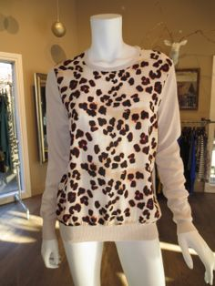 Silk Cheetah Front Sweater in Blush by Central Park West by Central Park West | SaVvy | Retail Therapy