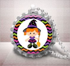 Witch Girl Colorful Chevron Halloween Bottle Cap Pendant Necklace | c0nfus3dgurl - Jewelry on ArtFire