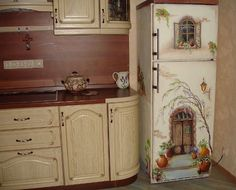 Inspiration For Your Kitchen: A Wonderful Painting on a Fridge