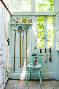 The name: The Hobby House.  Owner: Donna Jenkins, stylist and owner of The Tinkerhouse Trading Company, shares her tiny backyard workshop.  Location: Sharpsville, IN.  Size: 61 square feet.