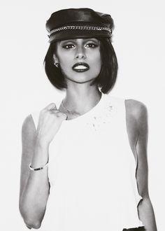 Nazanin Mandi. Love the make-up, hair and simplicity.