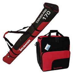 BRUBAKER Sac à chaussures de ski 'Super Function' et Housse à skis 'Carver Pro' pour 1 Paire de skis + Bâtons + Chaussures + Casque – 170…