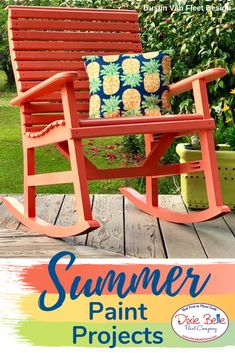 Summer paint colors are perfect for your next project! This sweet porch rocker was painted with Florida Orange. Decor Style Home Decor Style Decor Tips Maintenance Orange Painted Furniture, Paint Furniture, Furniture Makeover, Cool Furniture, Diy Furniture Tutorials, Florida Oranges, Summer Painting, Dixie Belle Paint, Mineral Paint