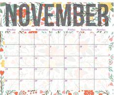 2018 floral calendar printable november printable blank calendar templates printable free planners pdf