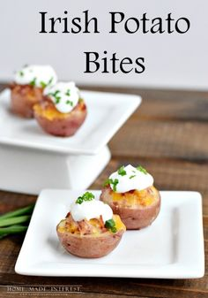 These Irish Potato bites are perfect for St. Patrick's Day! Little bites of potato filled with corned beef and cheese, what could be a better St. Patrick's Day appetizer?!