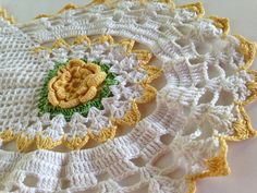 Yellow Crochet Lace Dresser Scarf  Vintage Hand by EightBoardsFarm, $15.00