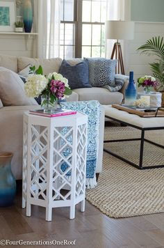 Gorgeous Family Room Makeover featuring Engineered Hardwood Flooring + Get this summer coastal family room look with gorgeous coastal accents from HomeGoods (sponsored)