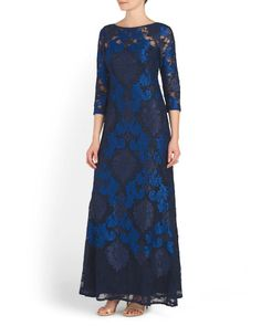 Three+Quarter+Sleeve+Lace+Gown