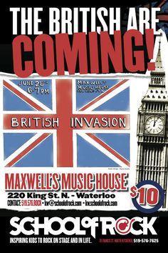 School of Rock Kitchener-Waterloo's first Show June 2014 Event Posters, School Of Rock, British Invasion, June, Music, Ideas, Musica, Musik, Muziek