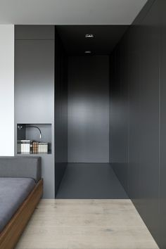 dark hallway/millwork creating a dramatic, high contrast transition to the rooms beyond//www.dk Dedicated to deliver superior interior acoustic experience. Dark Interiors, Office Interiors, Home Bedroom, Modern Bedroom, Gray Bedroom, Luxury Home Decor, Luxury Homes, Interior Architecture, Interior And Exterior