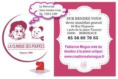 Carte de visite. Fabienne Mogue crée du doudou à la pièce unique de personnage imaginaire. www.creationsalamogue.fr