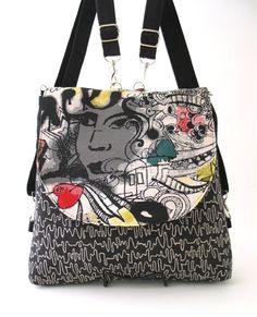 black and white bag zipper bag black backpack by daphnenen on Etsy