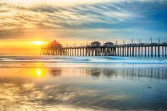 Huntington Beach Pier at Sunset by Nazeem S on Huntington Beach Pier, Celestial, Sunset, Outdoor, Outdoors, Sunsets, Outdoor Games, The Great Outdoors, The Sunset