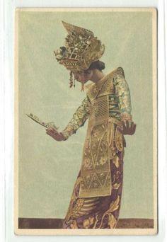 Bali  Legong Dancer vintage postcard 1940s.    I love how the dancer looks like a puppet.
