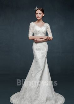 V-neck Lace Up Sweep Train White Half Sleeves Lace Beads Appliques Sheath Wedding Dresses Cheap Wedding Dresses Online, Bridal Wedding Dresses, Lace Making, Mermaid Dresses, Beaded Lace, Trumpet, Half Sleeves, Lace Up, V Neck
