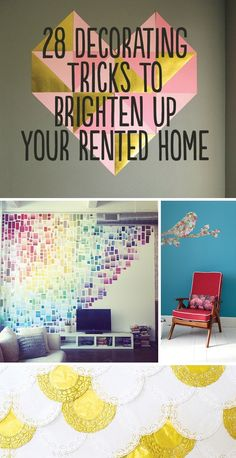 28 Decorating Tips for Renters!! Super cute ideas on how to add your touch to an apartment without risking your security deposit.