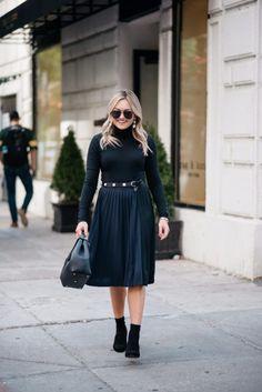 Turtleneck Bodysuit + Pleated Midi Skirt   bows & sequins