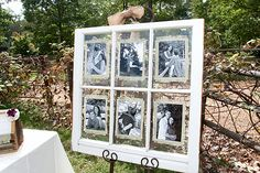 Window with Black & White Photos. The bride had black & white photographs printed from the DVD of full resolution engagement portraits shot by Wedding Photographics.  She then placed the black & white photos in a window frame to display the photographs by the guest book table near her outdoor Ceremony.