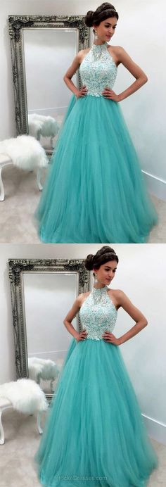 Blue Prom Dresses,Long Prom Dresses,Lace Prom Dresses 2018,Modest Prom Dresses A-line, High Neck Prom Dresses Tulle with Appliques
