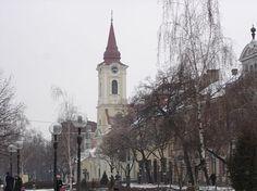Kikinda, Main Street and Catholic Church. Main Street, Hungary, Catholic, Maine, Outdoor, Outdoors, Outdoor Games, The Great Outdoors, Roman Catholic