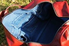 Denim lining made of an old jeans. Custom Men's Leather Bag made from an old Sofa from 70's. Hand made in Czech Republic.
