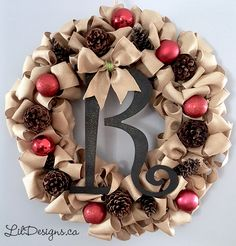 Burlap Ribbon, Burlap Wreath, Framed Monogram Letters, Xmas Wreaths, Snowy Day, Wired Ribbon, Dollar Stores, Diy Projects, Christmas Ornaments