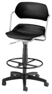 OFM Martisa Armless Swivel with Drafting Kit Silver Frame in Black contemporary-task-chairs