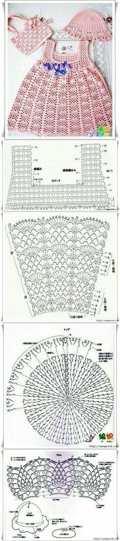 Crochet Baby Dress Crochet Baby Dress Летний комплект Tejido paso a paso…… Baby Girl Crochet, Crochet Baby Clothes, Crochet For Kids, Crochet Chart, Crochet Lace, Crochet Stitches, Crochet Wedding, Knitting Patterns, Crochet Patterns