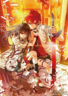 Anime boy, anime girl, sword, fire, cool, black hair, red hair, red eyes; Anime  Please tell me the names of these characters if they are characters if you know