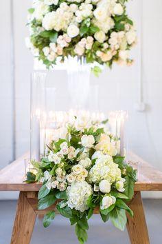 Table Garland, Table Decorations, White Floral Centerpieces, Studio Studio, Luxury Flowers, Dc Weddings, Team Building, Hydrangea