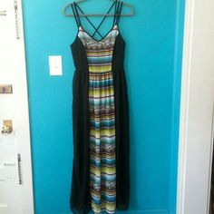 """NWOT Sans Souci X-Back Maxi Dress Tried on but never get to wear it. Material is 100% polyester, feels like chiffon. Lining is mini skirt,  a little bit above where the side slits start. Measurements: Length from highest part of strap-55.5""""; pit to pit-17""""; waist-13""""; slit length (from bottom). Hidden zipper with hook and I closure in back. Zipper is about 12"""" length from top and a bit past the waist. A couple of very little snags at the bottom but it's not even visible unless you're looking…"""