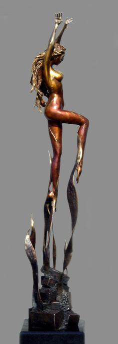PHOENIX - Sculpture - Nude Female Form Bronze Sculpture by J. Anne Butler. Figurative nude bronze statue