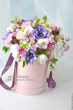 Купить Цветы в шляпной коробке 40 см (полимерная глина) - интерьерная композиция, полимерная глина
