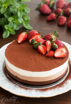 No-Bake Triple Chocolate Mousse Cake-pink straberry layer on top!
