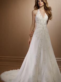 2012 A-line Halter Embroider V-neck Sweep length Satin/Chiffon Lacing up Wedding dress