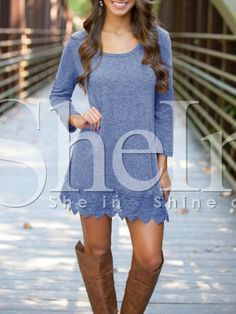 Blue Long Sleeve With Lace Dress 11.99