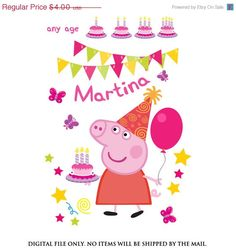 SALE 35% OFF Peppa pig iron on transfer Peppa by lauraspartyshop